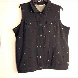Quacker Factory Bling Design Black Vest - Size 2X